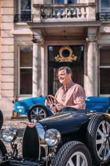 Mr Beerens proudly recevies his Bugatti Baby II at his home in Belgium-min