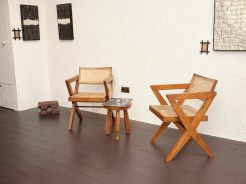 The Room - Art, left 'Veil 1' and 'Veil 2', right, 'Solemn' both by Carl Koch. Furniture, chairs designed by Pierre Jeanerette