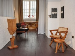 The Room - Art, left sculpture by Brian Wilshire. Right, 'Veil 1' and 'Veil 2', by Carl Koch. Furniture, left chair designed by Wim Den Boom. Right chair designed by Pierre Jeanerette