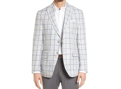 JKTTrim Fit Windowpane Linen Sport Coat