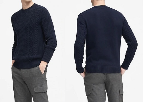 BR Cable-Knit High Crew-Neck Sweater