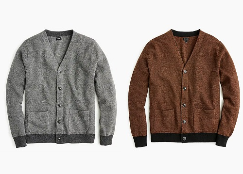 J. Crew American Lambswool Bird's-Eye Cardigan Sweater