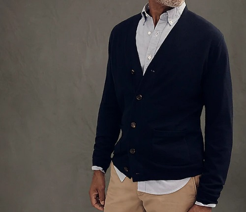J. Crew Merino Wool Wide Placket V-Neck Cardigan Sweater