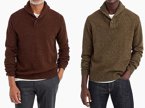 J. Crew Rugged Merino Wool Shawl-Collar Cardigan Sweater