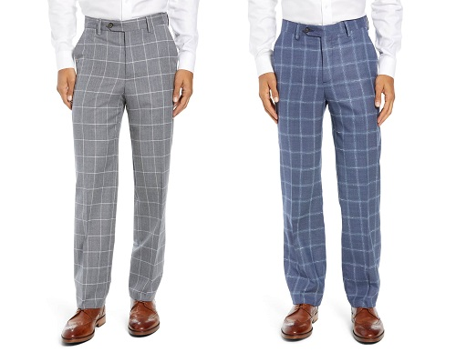 Berle Wool Flat Front Windowpane Wool Trousers