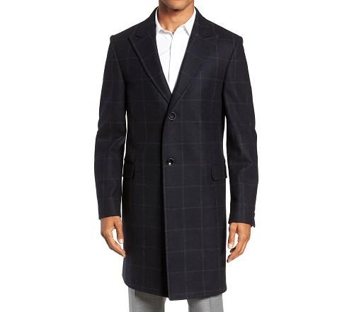 Nordstrom Signature Addison Windowpane Wool Blend Overcoat