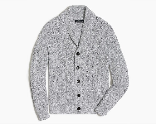 J. Crew Factory Chunky Cardigan Sweater in Marled Cotton