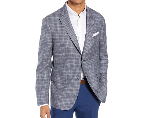 John W. Nordstrom Classic Fit Plaid Wool Sport Coat