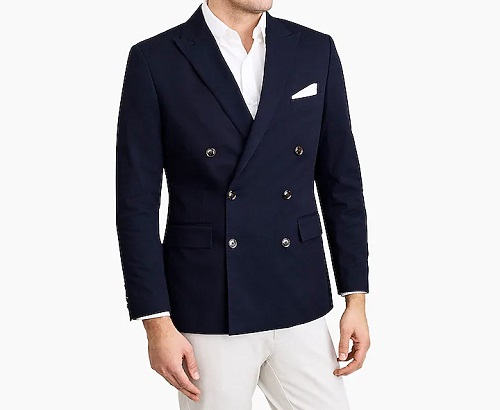 J.C.F. Slim Thompson Double-Breasted Blazer in Flex Chino