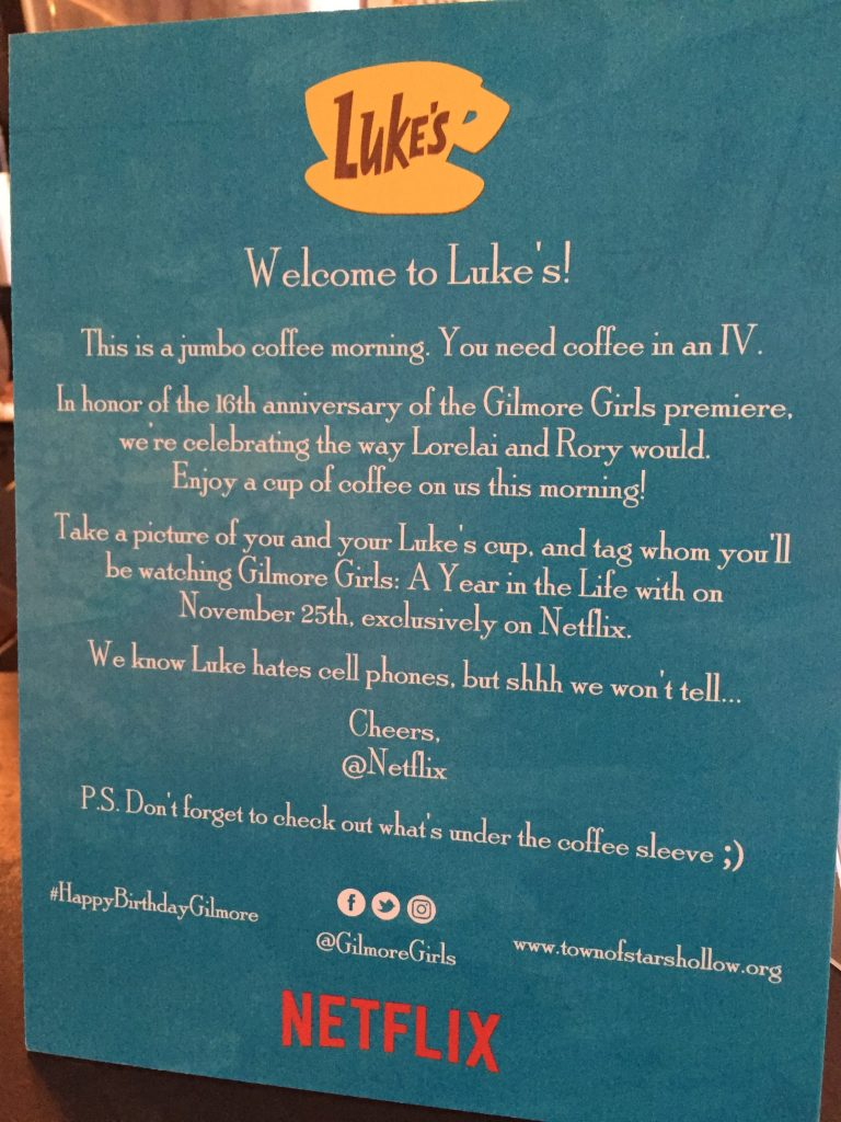 Luke's sign from Netflix at Trafiq Cafe & Bakery
