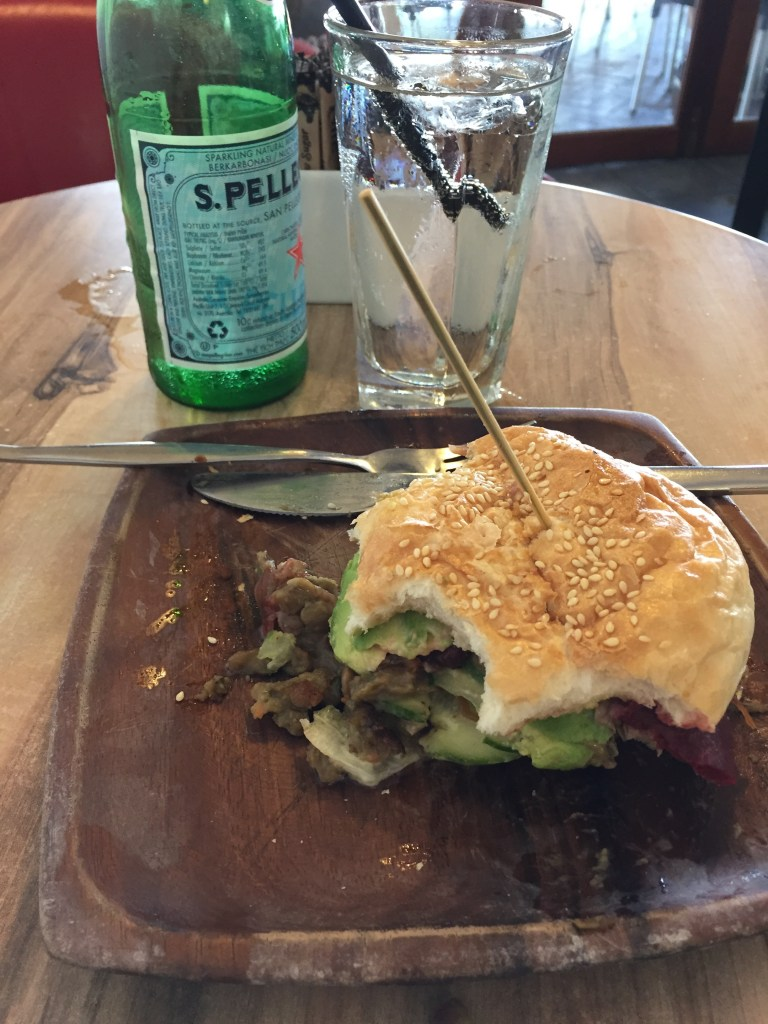 Healthy Veggie Burger with avocado from Cafe Ziva