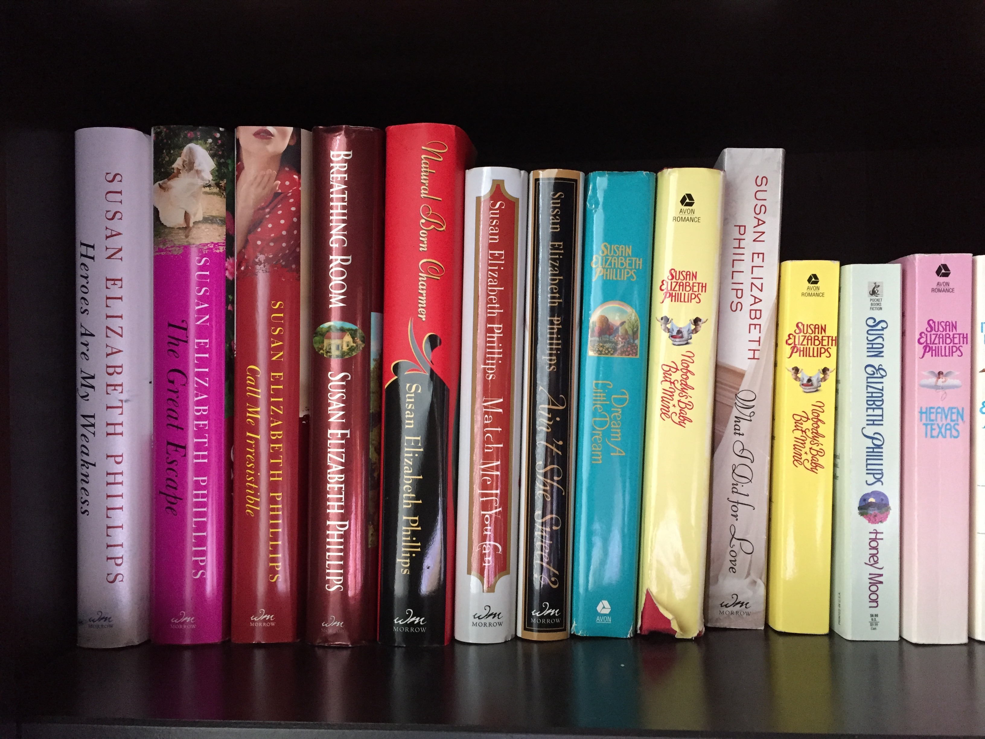 The Susan Elizabeth Phillips Book Collection Hard Cover on the book shelf - favourite authors