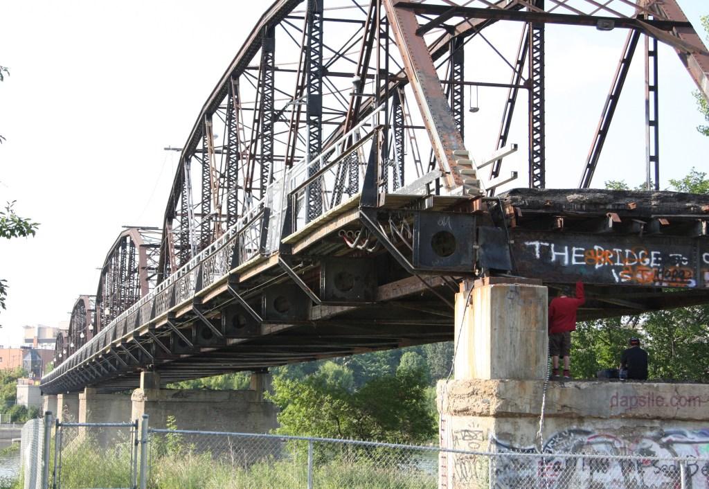 bridge in Saskatoon in the process of being torn down