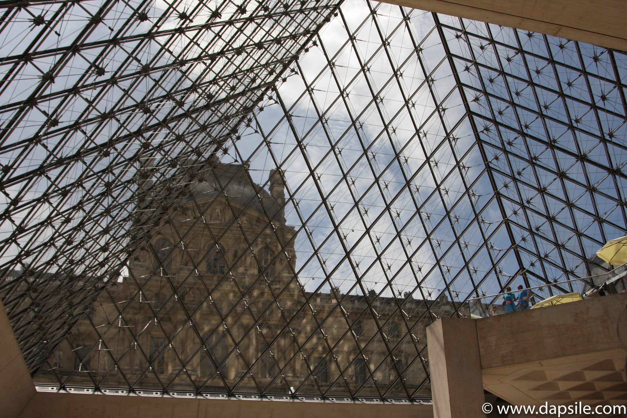 Looking Out Through the Glass Pyramid at the Louvre in Paris