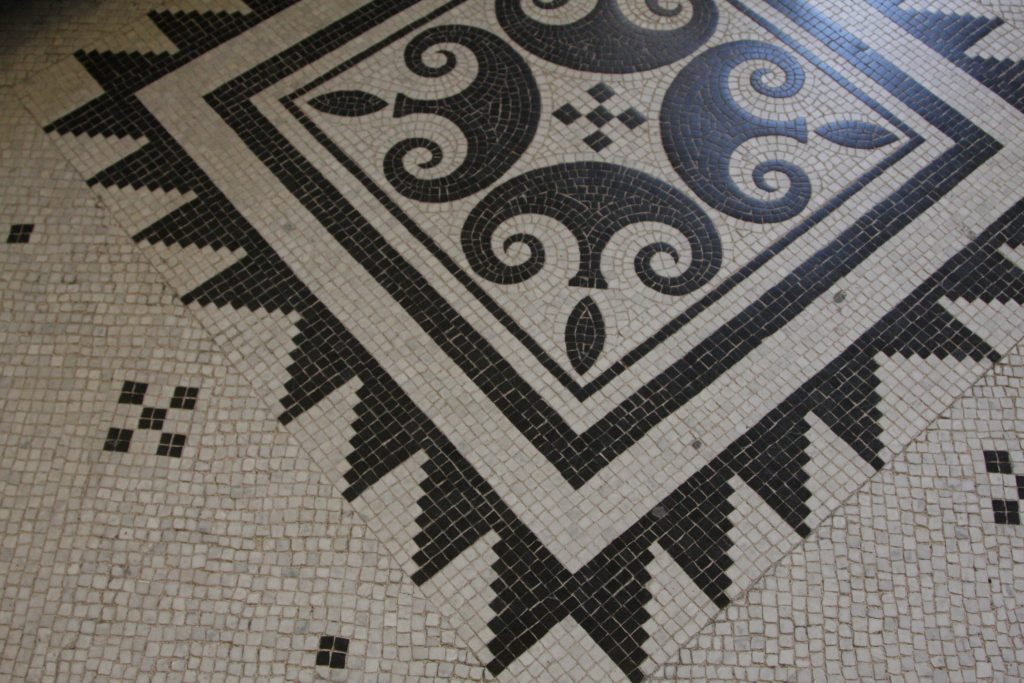 Part of a Black and White Mosaic Patterned Floor in the Louvre in Paris