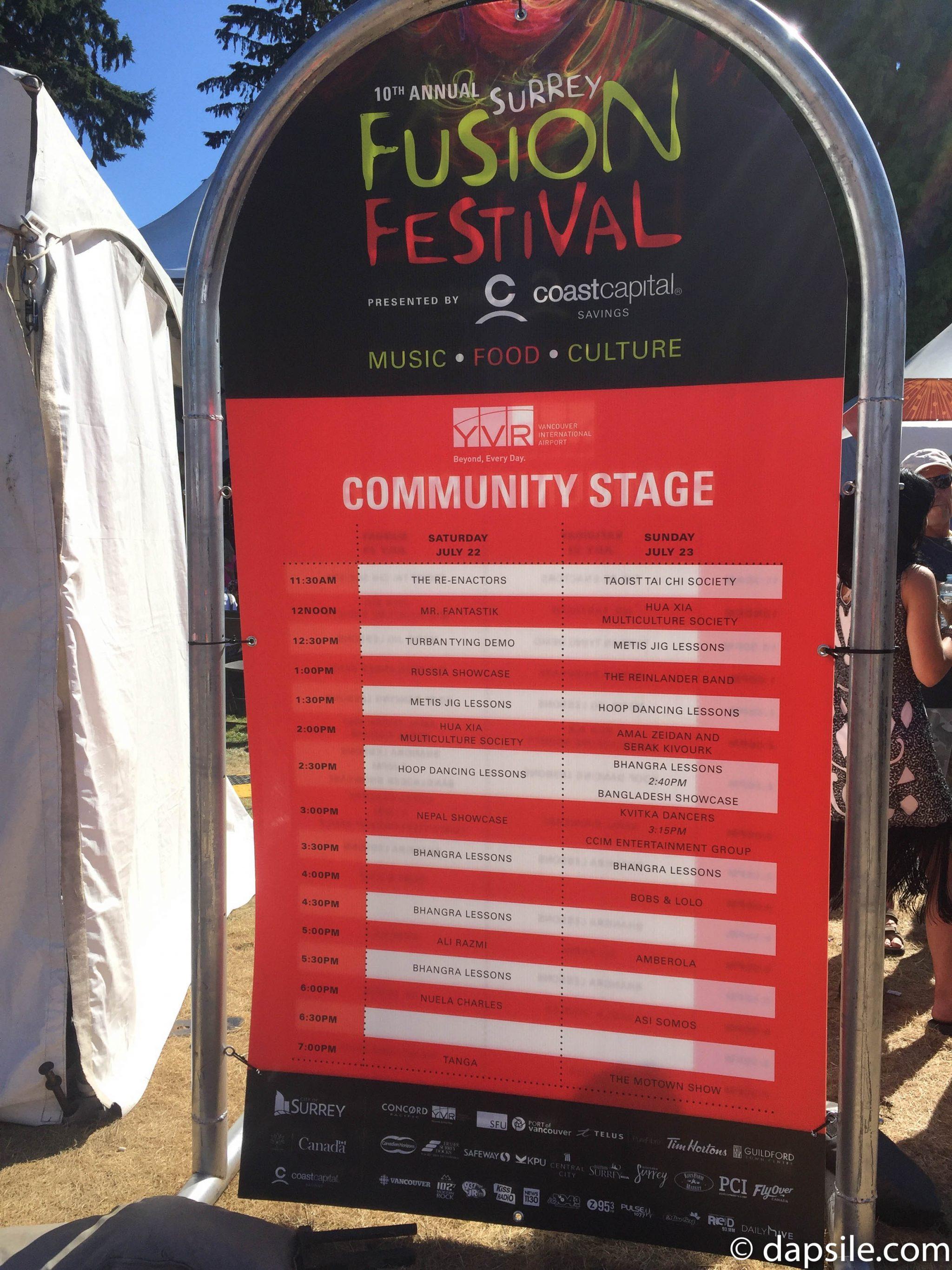 Surrey Fusion Festival 2017 Community Stage Schedule