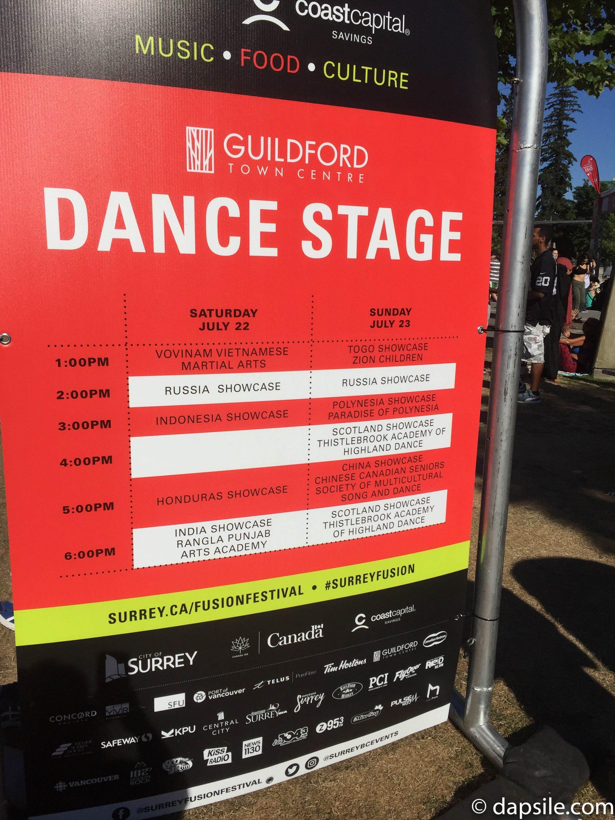 Surrey Fusion Festival 2017 Dance Stage Schedule
