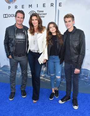 """ANAHEIM, CA - MAY 09: (L-R) Randy Gerber, model Cindy Crawford, Kaia Gerber and Presley Gerber attend the world premiere of Disney's """"Tomorrowland"""" at Disneyland, Anaheim on May 9, 2015 in Anaheim, California. (Photo by Alberto E. Rodriguez/Getty Images for Disney) *** Local Caption *** Randy Gerber;Cindy Crawford;Presley Gerber;Kaia Gerber"""