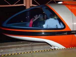 """ANAHEIM, CA - MAY 09: (L-R) Mia Alamuddin, lawyer Amal Clooney, actor George Clooney and The Walt Disney Company Chairman and CEO Bob Iger ride the monorail to the after party for the world premiere of Disney's """"Tomorrowland"""" at Disneyland, Anaheim on May 9, 2015 in Anaheim, California. (Photo by Alberto E. Rodriguez/Getty Images for Disney) *** Local Caption *** Mia Alamuddin;George Clooney;Amal Clooney;Bob Iger"""