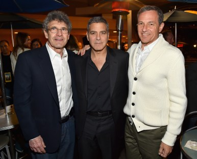 """ANAHEIM, CA - MAY 09: (L-R) Chairman of the Walt Disney Studios Alan Horn, actor George Clooney and The Walt Disney Company Chairman and CEO Bob Iger attend the after party for the world premiere of Disney's """"Tomorrowland"""" at Disneyland, Anaheim on May 9, 2015 in Anaheim, California. (Photo by Alberto E. Rodriguez/Getty Images for Disney) *** Local Caption *** Bob Iger;Alan Horn;George Clooney"""