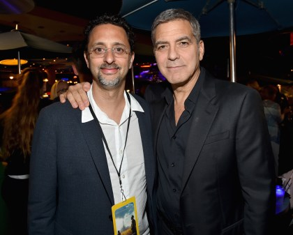 "ANAHEIM, CA - MAY 09: Actors Grant Heslov (L) and George Clooney attend the after party for the world premiere of Disney's ""Tomorrowland"" at Disneyland, Anaheim on May 9, 2015 in Anaheim, California. (Photo by Alberto E. Rodriguez/Getty Images for Disney) *** Local Caption *** Grant Heslov;George Clooney"