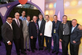 HOLLYWOOD, CA - JUNE 08: (L-R) Co-director Ronnie Del Carmen, Executive Vice President of Marketing at Walt Disney Studios David Sameth, director/writer/screenwriter Pete Docter, President of Marketing for The Walt Disney Studios, Ricky Strauss, executive producer John Lasseter, Chairman of The Walt Disney Studios, Alan Horn, President of Pixar Animation Studios and Walt Disney Animation Studios Ed Catmul, President at Pixar Animation Studios Jim Morris, producer Jonas Rivera and President, The Walt Disney Studios, Alan Bergman attend the Los Angeles Premiere and Party for Disney•Pixar's INSIDE OUT at El Capitan Theatre on June 8, 2015 in Hollywood, California. (Photo by Jesse Grant/Getty Images for Disney) *** Local Caption *** Ronnie Del Carmen; David Sameth; Pete Docter; Ricky Strauss; John Lasseter; Alan Horn; Ed Catmul; Jim Morris; Jonas Rivera; Alan Bergman