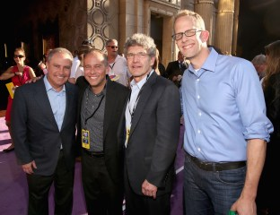 HOLLYWOOD, CA - JUNE 08: (L-R) President, The Walt Disney Studios, Alan Bergman, producer Jonas Rivera, Chairman of The Walt Disney Studios, Alan Horn and director/writer/screenwriter Pete Docter attend the Los Angeles Premiere and Party for Disney•Pixar's INSIDE OUT at El Capitan Theatre on June 8, 2015 in Hollywood, California. (Photo by Jesse Grant/Getty Images for Disney) *** Local Caption *** Alan Bergman; Jonas Rivera; Alan Horn; Pete Docter
