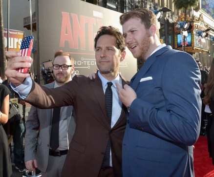 "LOS ANGELES, CA - JUNE 29: Actor Paul Rudd (C) takes a selfie at the OMAZE booth at the world premiere of Marvel's ""Ant-Man"" at The Dolby Theatre on June 29, 2015 in Los Angeles, California. (Photo by Charley Gallay/Getty Images) *** Local Caption *** Paul Rudd"