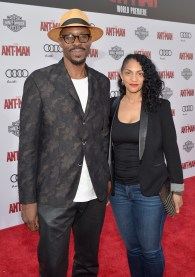 """LOS ANGELES, CA - JUNE 29: Actor Wood Harris (L) and Rebekah Harris attend the world premiere of Marvel's """"Ant-Man"""" at The Dolby Theatre on June 29, 2015 in Los Angeles, California. (Photo by Charley Gallay/Getty Images) *** Local Caption *** Wood Harris;Rebekah Harris"""
