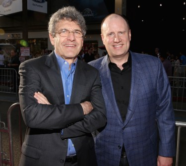 """LOS ANGELES, CA - JUNE 29: Chairman, The Walt Disney Studios, Alan Horn (L) and producer Kevin Feige attend the world premiere of Marvel's """"Ant-Man"""" at The Dolby Theatre on June 29, 2015 in Los Angeles, California. (Photo by Jesse Grant/Getty Images for Disney) *** Local Caption *** Alan Horn;Kevin Feige"""