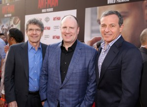 """LOS ANGELES, CA - JUNE 29: (L-R) Chairman, The Walt Disney Studios, Alan Horn, producer Kevin Feige and The Walt Disney Company Chairman and CEO, Bob Iger attend the world premiere of Marvel's """"Ant-Man"""" at The Dolby Theatre on June 29, 2015 in Los Angeles, California. (Photo by Jesse Grant/Getty Images for Disney) *** Local Caption *** Alan Horn;Kevin Feige;Bob Iger"""