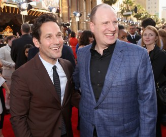 "LOS ANGELES, CA - JUNE 29: Actor Paul Rudd (L) and producer Kevin Feige attend the world premiere of Marvel's ""Ant-Man"" at The Dolby Theatre on June 29, 2015 in Los Angeles, California. (Photo by Jesse Grant/Getty Images for Disney) *** Local Caption *** Paul Rudd;Kevin Feige"