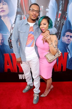 "LOS ANGELES, CA - JUNE 29: Actor/rapper Tip ""T.I."" Harris (L) and singer Tameka ""Tiny"" Cottle-Harris attend the world premiere of Marvel's ""Ant-Man"" at The Dolby Theatre on June 29, 2015 in Los Angeles, California. (Photo by Jesse Grant/Getty Images for Disney) *** Local Caption *** Tip Harris;T.I.;Tameka Cottle-Harris"