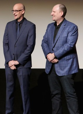 """LOS ANGELES, CA - JUNE 29: Director Peyton Reed (L) and producer Kevin Feige onstage during the world premiere of Marvel's """"Ant-Man"""" at The Dolby Theatre on June 29, 2015 in Los Angeles, California. (Photo by Jesse Grant/Getty Images for Disney) *** Local Caption *** Peyton Reed;Kevin Feige"""