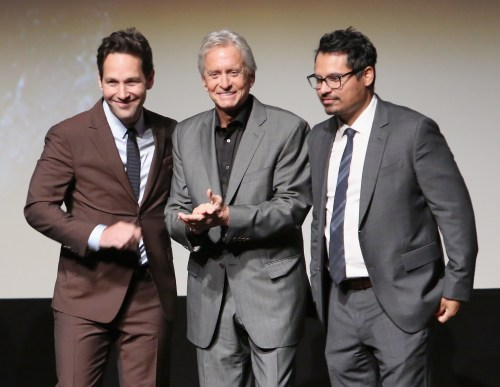 "LOS ANGELES, CA - JUNE 29: (L-R) Actors Paul Rudd, Michael Douglas and Michael Pena onstage during the world premiere of Marvel's ""Ant-Man"" at The Dolby Theatre on June 29, 2015 in Los Angeles, California. (Photo by Jesse Grant/Getty Images for Disney) *** Local Caption *** Paul Rudd;Michael Douglas;Michael Pena"