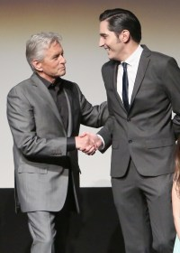 """LOS ANGELES, CA - JUNE 29: Actors Michael Douglas (L) and David Dastmalchian onstage during the world premiere of Marvel's """"Ant-Man"""" at The Dolby Theatre on June 29, 2015 in Los Angeles, California. (Photo by Jesse Grant/Getty Images for Disney) *** Local Caption *** Michael Douglas;David Dastmalchian"""