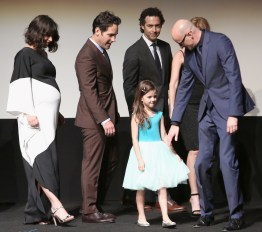 """LOS ANGELES, CA - JUNE 29: (L-R) Actors Evangeline Lilly, Paul Rudd, John Fortson, Abby Ryder Fortson and director Peyton Reed onstage during the world premiere of Marvel's """"Ant-Man"""" at The Dolby Theatre on June 29, 2015 in Los Angeles, California. (Photo by Jesse Grant/Getty Images for Disney) *** Local Caption *** Evangeline Lilly;Paul Rudd;John Fortson;Abby Ryder Fortson;Peyton Reed"""