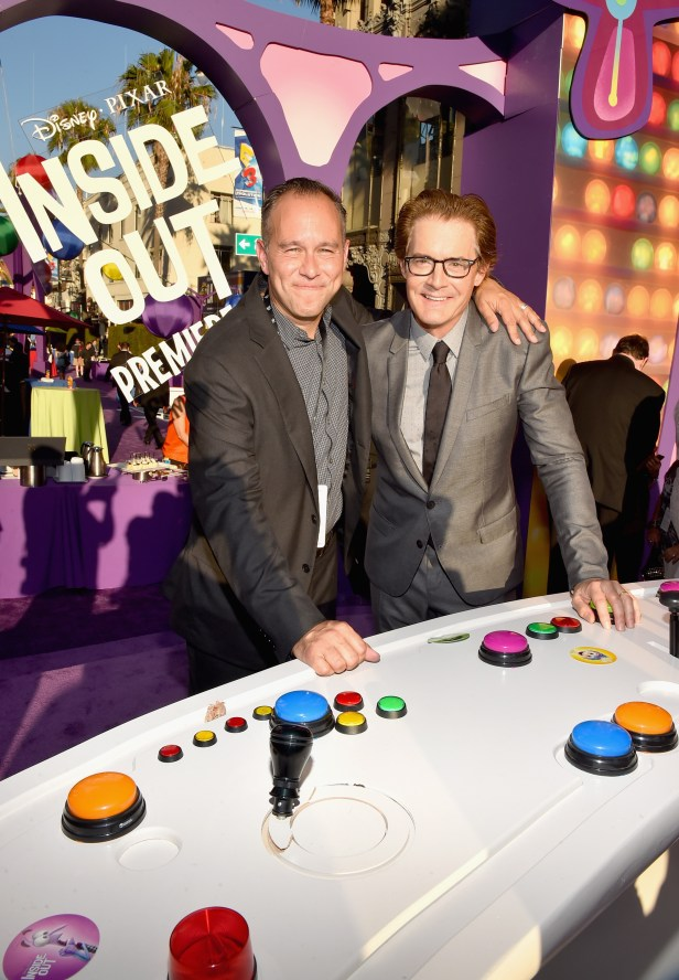 HOLLYWOOD, CA - JUNE 08: Producer Jonas Rivera (L) and actor Kyle MacLachlan attend the Los Angeles Premiere and Party for Disney•Pixar's INSIDE OUT at El Capitan Theatre on June 8, 2015 in Hollywood, California. (Photo by Alberto E. Rodriguez/Getty Images for Disney) *** Local Caption *** Jonas Rivera; Kyle MacLachlan
