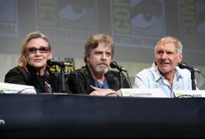SAN DIEGO, CA - JULY 10: (L-R) Actors Carrie Fisher, Mark Hamill and Harrison Ford at the Hall H Panel for `Star Wars: The Force Awakens` during Comic-Con International 2015 at the San Diego Convention Center on July 10, 2015 in San Diego, California. (Photo by Jesse Grant/Getty Images for Disney) *** Local Caption *** Carrie Fisher; Mark Hamill; Harrison Ford