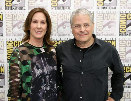 SAN DIEGO, CA - JULY 10: Producer Kathleen Kennedy (L) and screenwriter Lawrence Kasdan at the Hall H Panel for `Star Wars: The Force Awakens` during Comic-Con International 2015 at the San Diego Convention Center on July 10, 2015 in San Diego, California. (Photo by Jesse Grant/Getty Images for Disney) *** Local Caption *** Kathleen Kennedy; Lawrence Kasdan