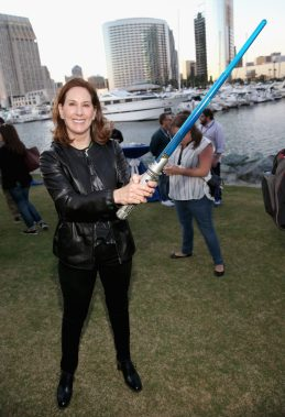 SAN DIEGO, CA - JULY 10: Producer Kathleen Kennedy and more than 6000 fans enjoyed a surprise `Star Wars` Fan Concert performed by the San Diego Symphony, featuring the classic `Star Wars` music of composer John Williams, at the Embarcadero Marina Park South on July 10, 2015 in San Diego, California. (Photo by Jesse Grant/Getty Images for Disney) *** Local Caption *** Kathleen Kennedy