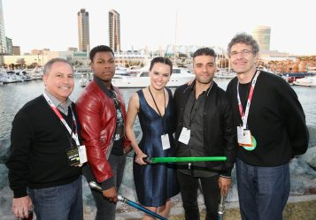 SAN DIEGO, CA - JULY 10: (L-R) President, The Walt Disney Studios, Alan Bergman, actors John Boyega, Daisy Ridley, Oscar Isaac, Chairman, The Walt Disney Studios, Alan Horn and more than 6000 fans enjoyed a surprise `Star Wars` Fan Concert performed by the San Diego Symphony, featuring the classic `Star Wars` music of composer John Williams, at the Embarcadero Marina Park South on July 10, 2015 in San Diego, California. (Photo by Jesse Grant/Getty Images for Disney) *** Local Caption *** Alan Bergman; Oscar Isaac; John Boyega; Daisy Ridley; Alan Horn