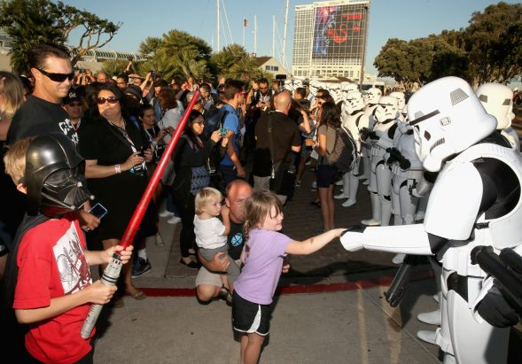 """SAN DIEGO, CA - JULY 10: Following the `Star Wars` Hall H presentation at Comic-Con International 2015 at the San Diego Convention Center in San Diego, Calif., the audience of more than 6000 fans enjoyed a surprise """"Star Wars"""" Fan Concert performed by the San Diego Symphony, featuring the classic `Star Wars` music of composer John Williams, at the Embarcadero Marina Park South on July 10, 2015 in San Diego, California. (Photo by Jesse Grant/Getty Images for Disney)"""