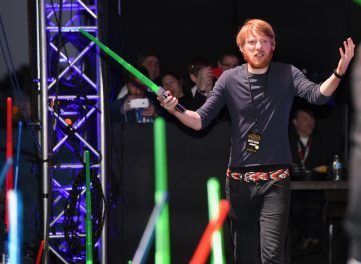 "SAN DIEGO, CA - JULY 10: Actor Domhnall Gleeson and more than 6000 fans enjoyed a surprise ""Star Wars"" Fan Concert performed by the San Diego Symphony, featuring the classic ""Star Wars"" music of composer John Williams, at the Embarcadero Marina Park South on July 10, 2015 in San Diego, California. (Photo by Michael Buckner/Getty Images for Disney) *** Local Caption *** Domhnall Gleeson"