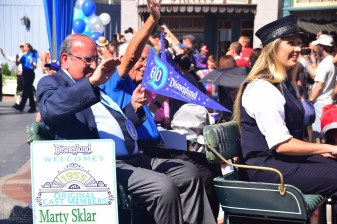 Marty Sklar and Bob Gurr in the pre-parade