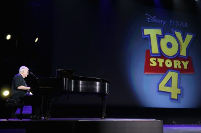 "ANAHEIM, CA - AUGUST 14: Composer Randy Newman of TOY STORY 1, 2 and 3 took part today in ""Pixar and Walt Disney Animation Studios: The Upcoming Films"" presentation at Disney's D23 EXPO 2015 in Anaheim, Calif. (Photo by Jesse Grant/Getty Images for Disney) *** Local Caption *** Randy Newman"