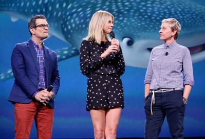 """ANAHEIM, CA - AUGUST 14: (L-R) Actors Ty Burrell, Kaitlin Olson and Ellen DeGeneres of FINDING DORY took part today in """"Pixar and Walt Disney Animation Studios: The Upcoming Films"""" presentation at Disney's D23 EXPO 2015 in Anaheim, Calif. (Photo by Jesse Grant/Getty Images for Disney) *** Local Caption *** Ed O'Neill; Ty Burrell; Kaitlin Olson"""