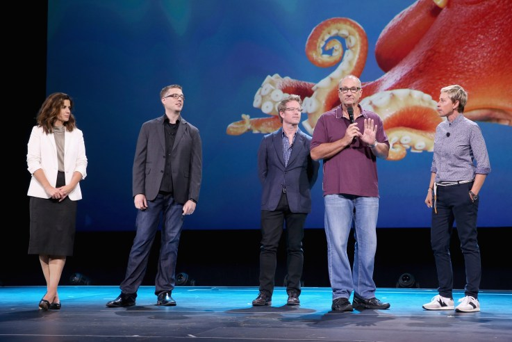 "ANAHEIM, CA - AUGUST 14: (L-R) Producer Lindsey Collins, directors Angus MacLane and Andrew Stanton and actors Ed O'Neill and Ellen DeGeneres of FINDING DORY took part today in ""Pixar and Walt Disney Animation Studios: The Upcoming Films"" presentation at Disney's D23 EXPO 2015 in Anaheim, Calif. (Photo by Jesse Grant/Getty Images for Disney) *** Local Caption *** Ellen DeGeneres; Ed O'Neill; Lindsey Collins; Angus MacLane; Andrew Stanton"