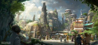 Star Wars-Themed Lands Coming to Disney Parks Ð Walt Disney Company Chairman and CEO Bob Iger announced at D23 EXPO 2015 that Star Wars-themed lands will be coming to Disneyland park in Anaheim, Calif., and DisneyÕs Hollywood Studios in Orlando, Fla., creating DisneyÕs largest single-themed land expansions ever at 14-acres each, transporting guests to a never-before-seen planet, a remote trading port and one of the last stops before wild space where Star Wars characters and their stories come to life. These authentic lands will have two signature attractions, including the ability to take the controls of one of the most recognizable ships in the galaxy, the Millennium Falcon, on a customized secret mission, and an epic Star Wars adventure that puts guests in the middle of a climactic battle. (Disney Parks)