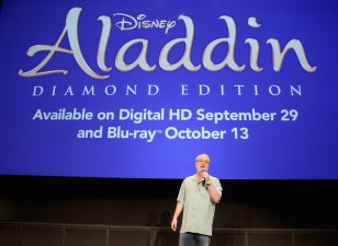 """BURBANK, CA - SEPTEMBER 27: Director/producer Ron Clements speaks during a special LA screening celebrating Diamond Edition release of """"ALADDIN"""" at The Walt Disney Studios on September 27, 2015 in Burbank, California. (Photo by Jesse Grant/Getty Images for Disney) *** Local Caption *** Ron Clements"""